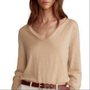 Silk Cashmere Amanda Maria Sweater in Sand Beige